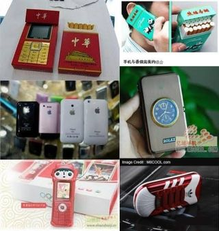 Examples of shanzhai cell phones -- pictures taken from the internet